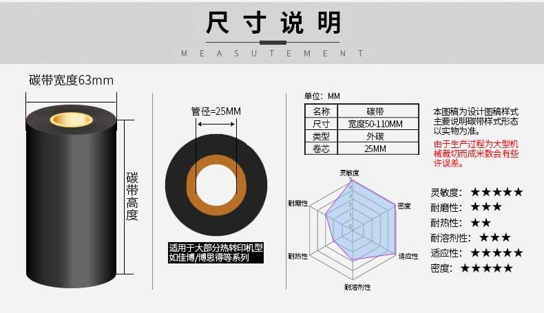 碳带尺寸说明